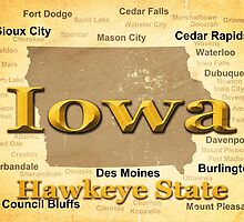 Aged Iowa State Pride Map Silhouette  by KWJphotoart