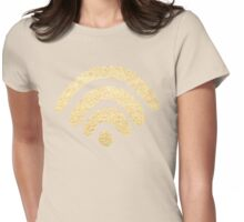 Gold Wifi Pattern Womens Fitted T-Shirt