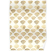 Gold Wifi Pattern Poster