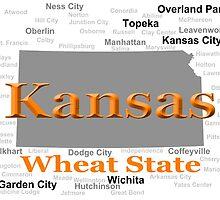 Kansas State Pride Map Silhouette  by KWJphotoart