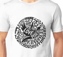 Dove of Peace Lettering Design in Black and White Unisex T-Shirt