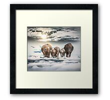 Elephants and Babys Framed Print