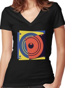 Pop Art Music Speaker Women's Fitted V-Neck T-Shirt