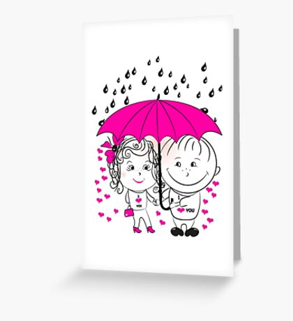 couple  standing under an umbrella n Greeting Card