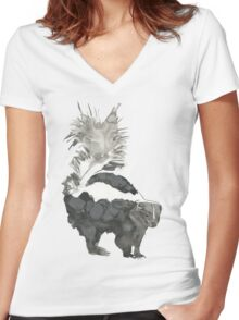 Skunk Painting  Women's Fitted V-Neck T-Shirt
