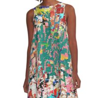 Paper Scrap Abstract Design A-Line Dress