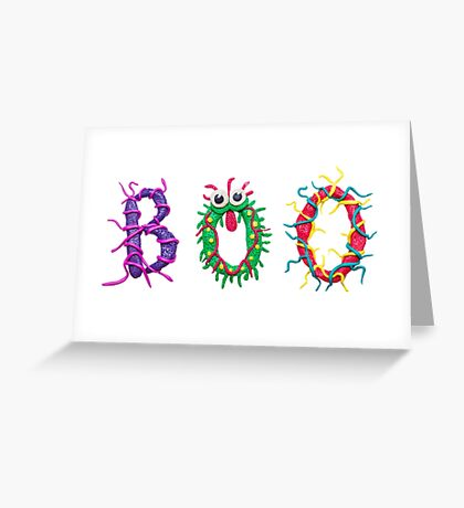 Colorful text Boo Greeting Card