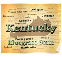 Aged Kentucky State Pride Map Silhouette  Poster