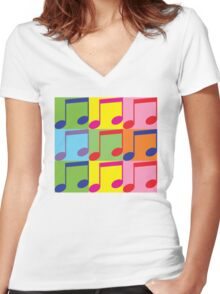 Pop Art Music Notes Women's Fitted V-Neck T-Shirt