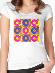 Vinyl Record Turntable Pop Art 3 Women's Fitted Scoop T-Shirt