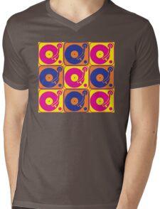 Vinyl Record Turntable Pop Art 3 Mens V-Neck T-Shirt