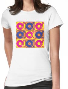 Vinyl Record Turntable Pop Art 3 Womens Fitted T-Shirt