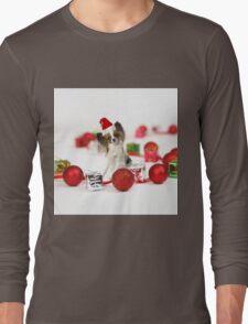 Cute Papillon Dog Christmas Santa Hat Long Sleeve T-Shirt