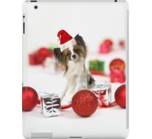 Cute Papillon Dog Christmas Santa Hat iPad Case/Skin