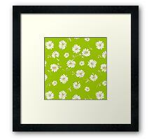 Spoon flower,flowers,floral,lime,white,green,yellow,modern,trendy,pattern Framed Print
