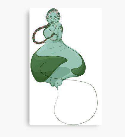 Stingray Mermaid, Green Canvas Print