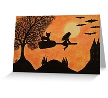 Halloween Cat and Witch: Halloween Silhouette Scene Greeting Card