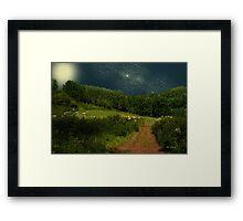 Hazy Moon Meadow Framed Print