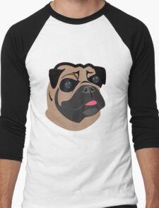 Cute Pug Dog Face Cartoon  Men's Baseball ¾ T-Shirt