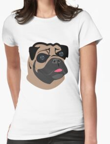 Cute Pug Dog Face Cartoon  Womens Fitted T-Shirt