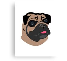 Cute Pug Dog Face Cartoon  Canvas Print