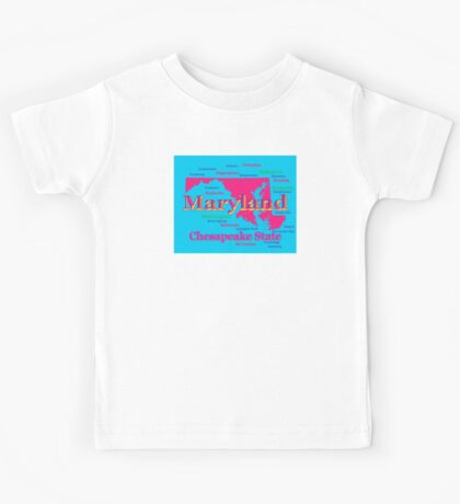 Colorful Maryland State Pride Map Silhouette  Kids Tee