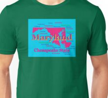 Colorful Maryland State Pride Map Silhouette  Unisex T-Shirt