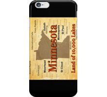 Aged Minnesota State Pride Map iPhone Case/Skin