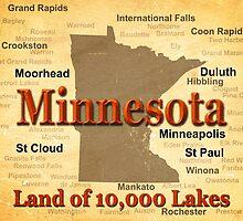 Aged Minnesota State Pride Map by KWJphotoart