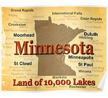 Aged Minnesota State Pride Map Poster