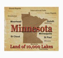 Aged Minnesota State Pride Map Kids Tee
