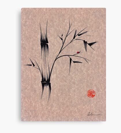 The Ladybug Sleeps - india ink brush pen bamboo drawing Canvas Print