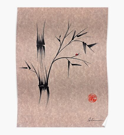 The Ladybug Sleeps - india ink brush pen bamboo drawing Poster