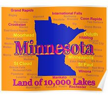 Colorful Minnesota State Pride Map Poster
