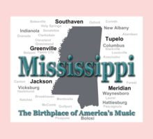 Mississippi State Pride Map Silhouette  Kids Clothes