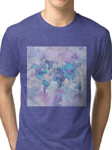 World Map Purple Tri-blend T-Shirt