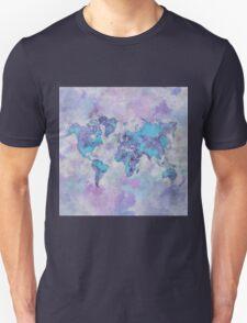 World Map Purple Unisex T-Shirt