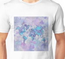 World Map Purple Unisex T-Shirt