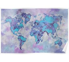 World Map Purple Poster