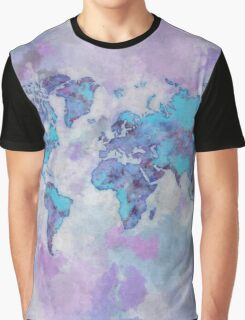 World Map Purple Graphic T-Shirt
