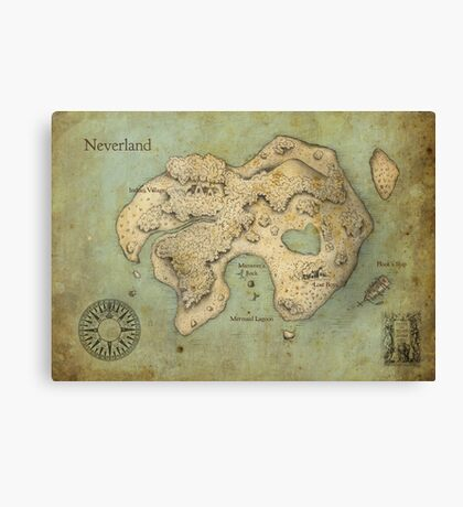 Peter Pan Neverland Map Canvas Print