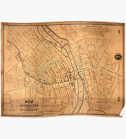 Map Of Rochester 1832 Poster
