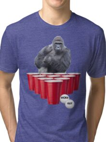 Harambe Beer Pong Tri-blend T-Shirt