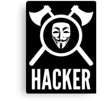 Hacker with crossed axes, shield and Guy Fawkes mask Canvas Print