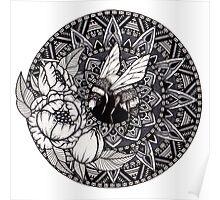 Bumble Bee Mandala Poster