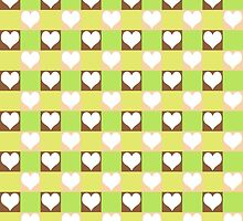 Pink, Brown, Green & Yellow Tiled Hearts by Mercury McCutcheon