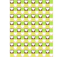 Pink, Brown, Green & Yellow Tiled Hearts Photographic Print