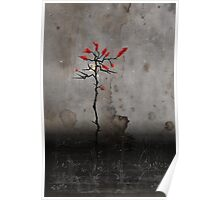 Crescent Moon Red Leaves Poster