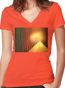 Pyramid Sunrise Women's Fitted V-Neck T-Shirt