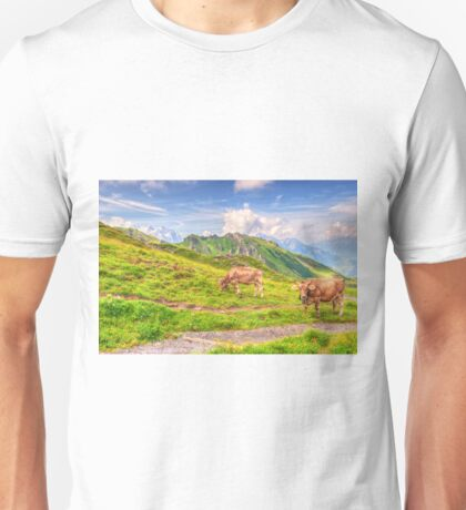 COW BY WALKING TRAIL ON SWISS ALPS Unisex T-Shirt